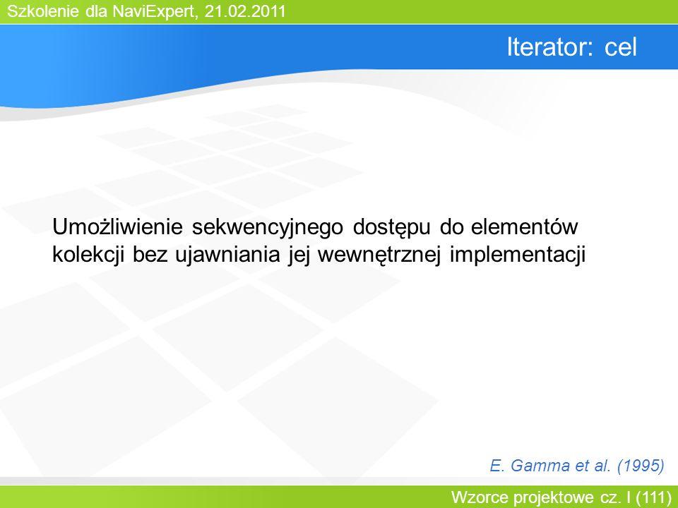 Bartosz WalterIterator: cel. Umożliwienie sekwencyjnego dostępu do elementów kolekcji bez ujawniania jej wewnętrznej implementacji.