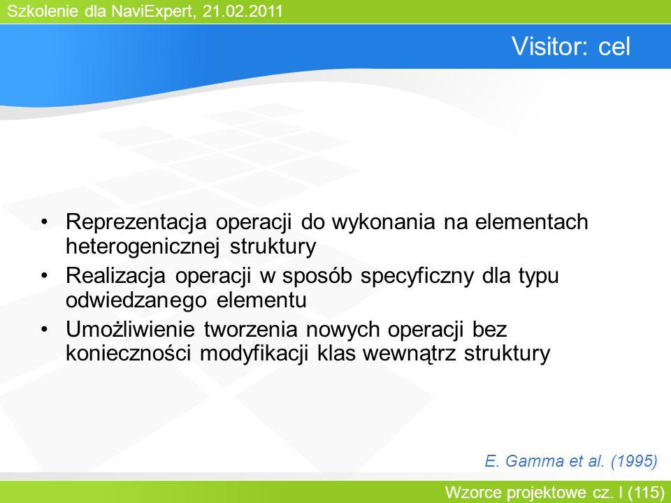 Bartosz WalterVisitor: cel. Reprezentacja operacji do wykonania na elementach heterogenicznej struktury.