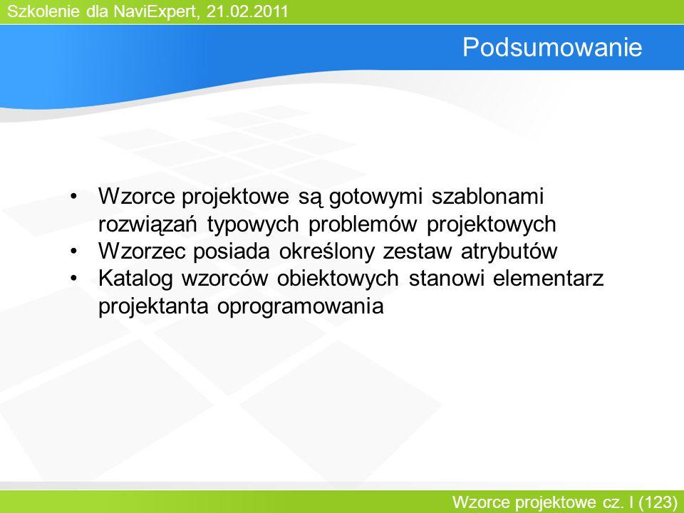 Bartosz Walter Podsumowanie. Wzorce projektowe są gotowymi szablonami rozwiązań typowych problemów projektowych.