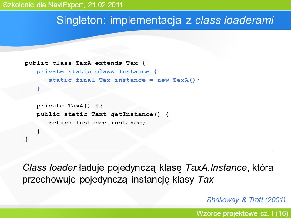 Singleton: implementacja z class loaderami