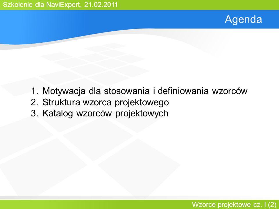 Agenda Motywacja dla stosowania i definiowania wzorców