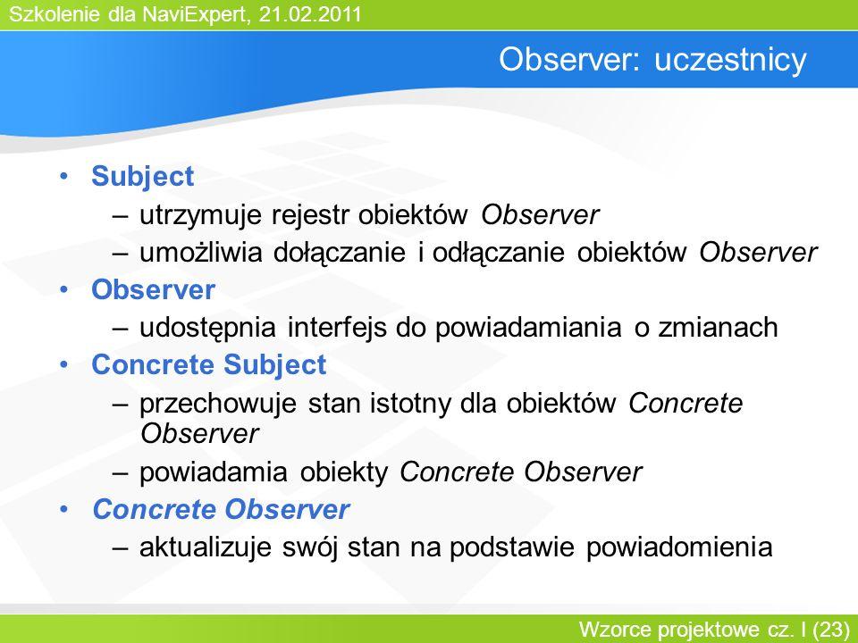 Observer: uczestnicy Subject utrzymuje rejestr obiektów Observer