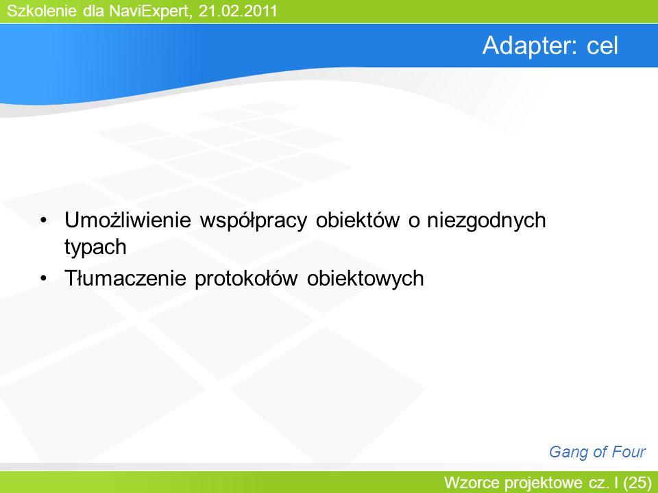 Adapter: cel Umożliwienie współpracy obiektów o niezgodnych typach