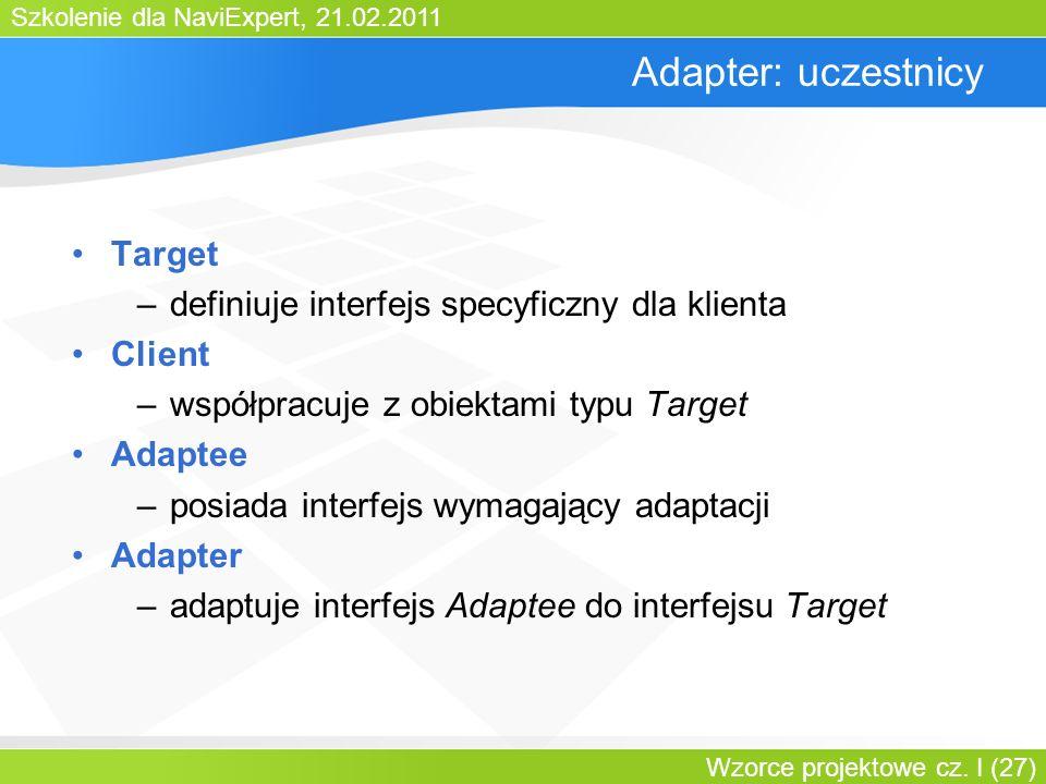 Adapter: uczestnicy Target definiuje interfejs specyficzny dla klienta