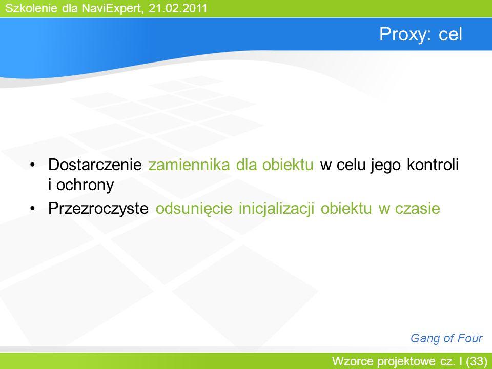 Bartosz WalterProxy: cel. Dostarczenie zamiennika dla obiektu w celu jego kontroli i ochrony.