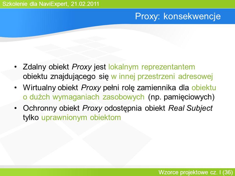 Bartosz WalterProxy: konsekwencje. Zdalny obiekt Proxy jest lokalnym reprezentantem obiektu znajdującego się w innej przestrzeni adresowej.