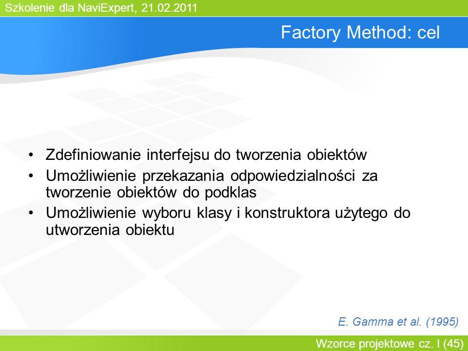 Factory Method: cel Zdefiniowanie interfejsu do tworzenia obiektów