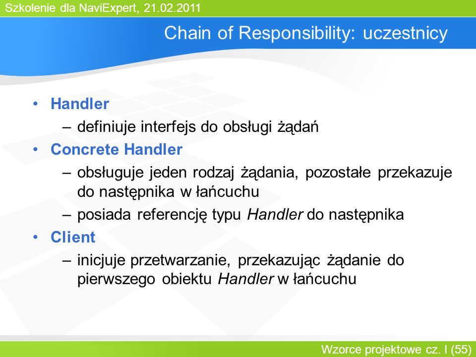 Chain of Responsibility: uczestnicy