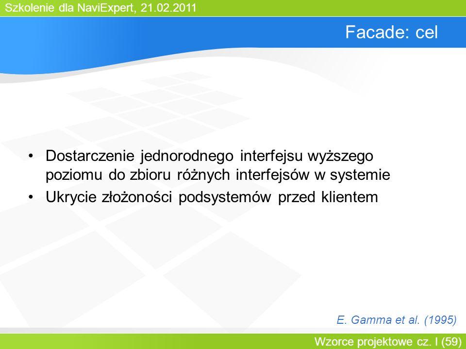 Bartosz WalterFacade: cel. Dostarczenie jednorodnego interfejsu wyższego poziomu do zbioru różnych interfejsów w systemie.