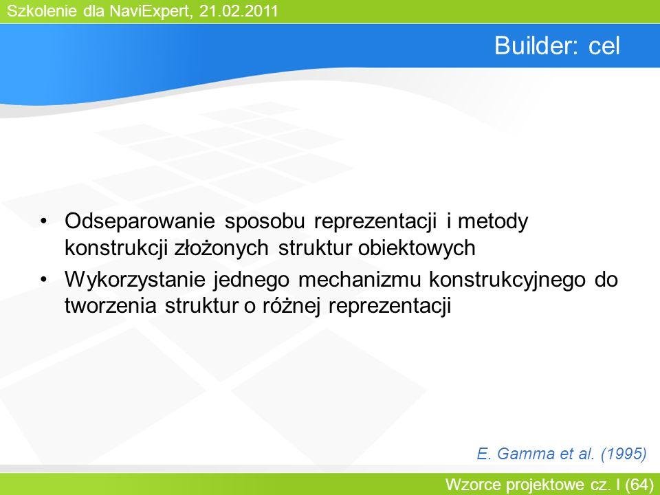 Bartosz WalterBuilder: cel. Odseparowanie sposobu reprezentacji i metody konstrukcji złożonych struktur obiektowych.