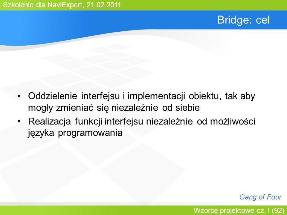 Bartosz WalterBridge: cel. Oddzielenie interfejsu i implementacji obiektu, tak aby mogły zmieniać się niezależnie od siebie.