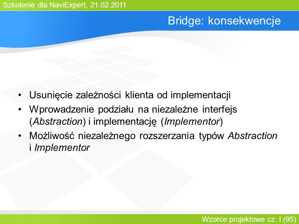 Bridge: konsekwencje Usunięcie zależności klienta od implementacji