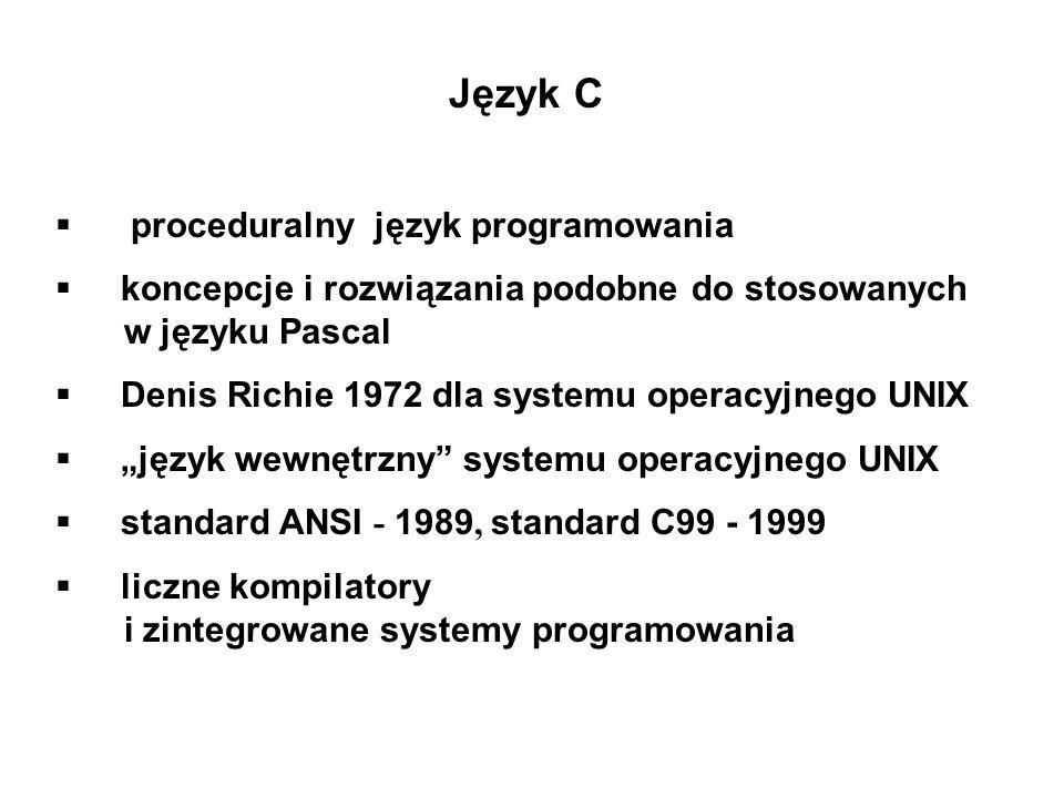 Język C proceduralny język programowania