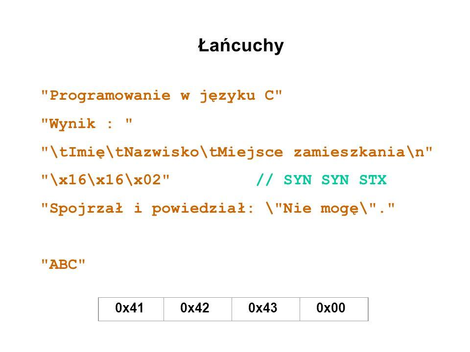 Łańcuchy Programowanie w języku C Wynik :