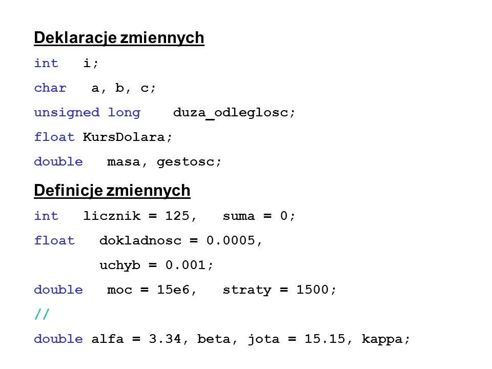Deklaracje zmiennych Definicje zmiennych int i; char a, b, c;