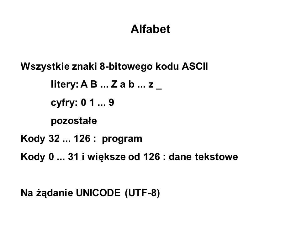 Alfabet Wszystkie znaki 8-bitowego kodu ASCII