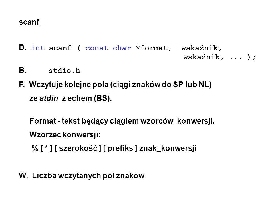 D. int scanf ( const char *format, wskaźnik, wskaźnik, ... );