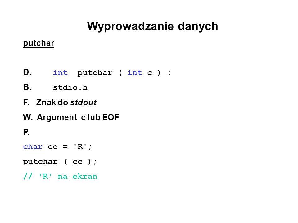 Wyprowadzanie danych putchar D. int putchar ( int c ) ; B. stdio.h