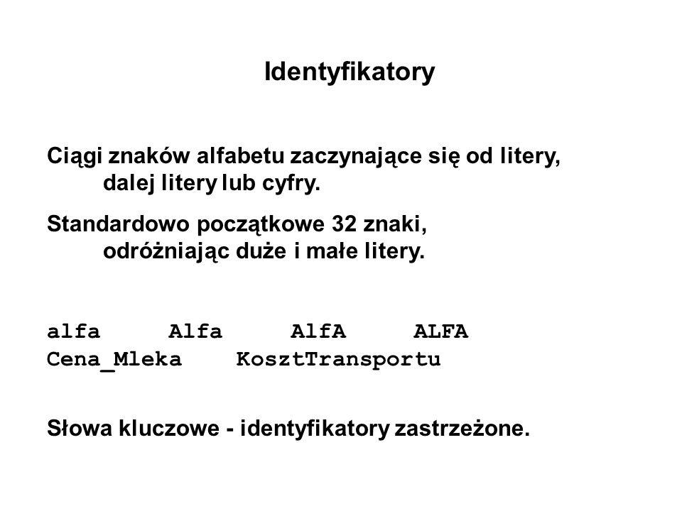 Identyfikatory Ciągi znaków alfabetu zaczynające się od litery, dalej litery lub cyfry.