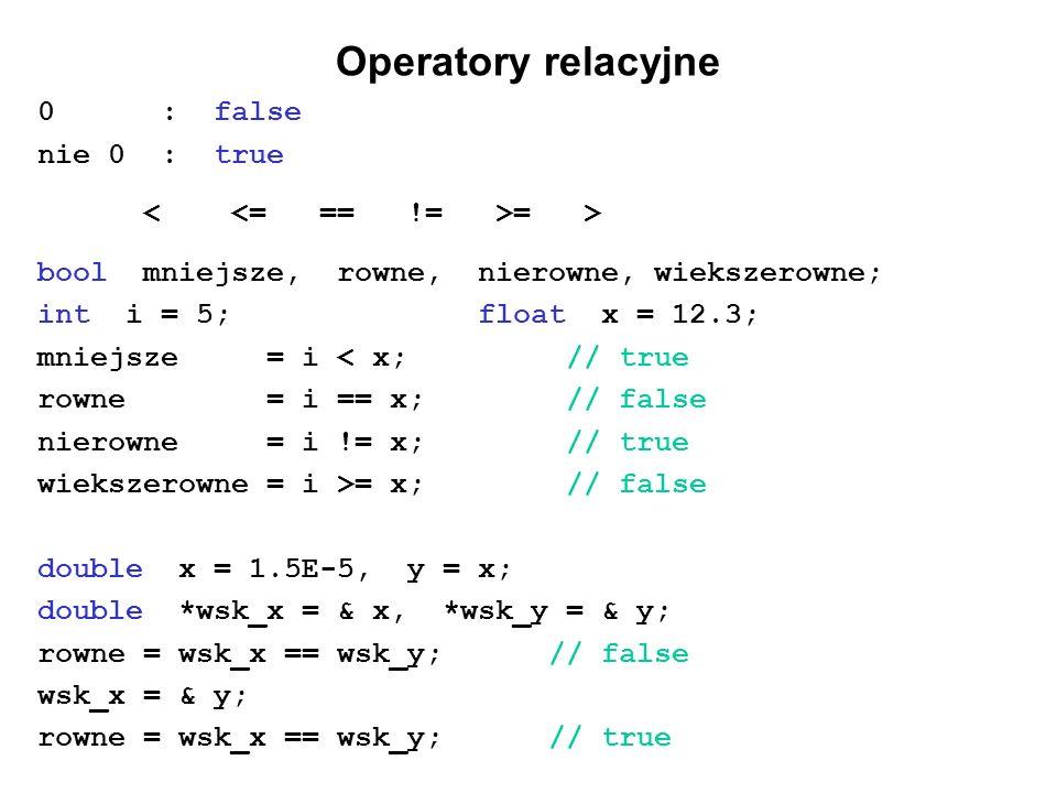 Operatory relacyjne 0 : false nie 0 : true < <= == != >= >