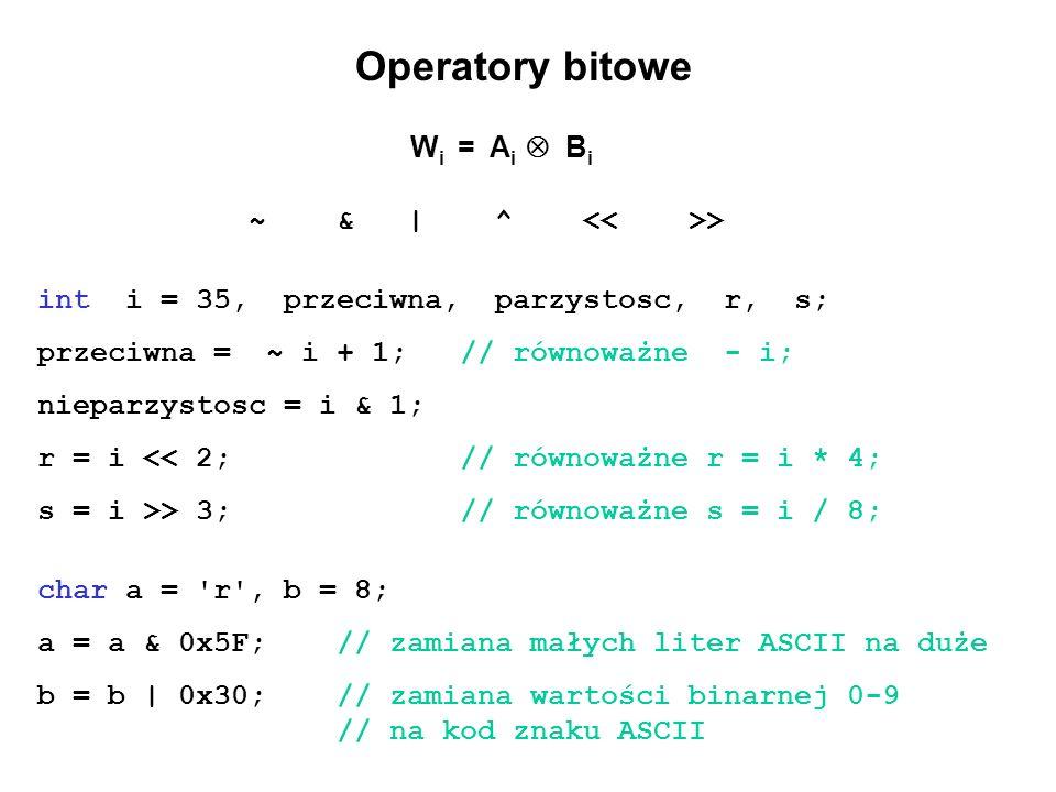 Operatory bitowe ~ & | ^ << >>
