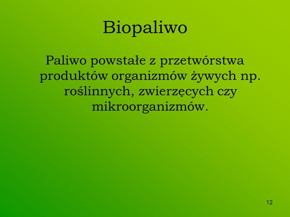 Biopaliwo Paliwo powstałe z przetwórstwa produktów organizmów żywych np.