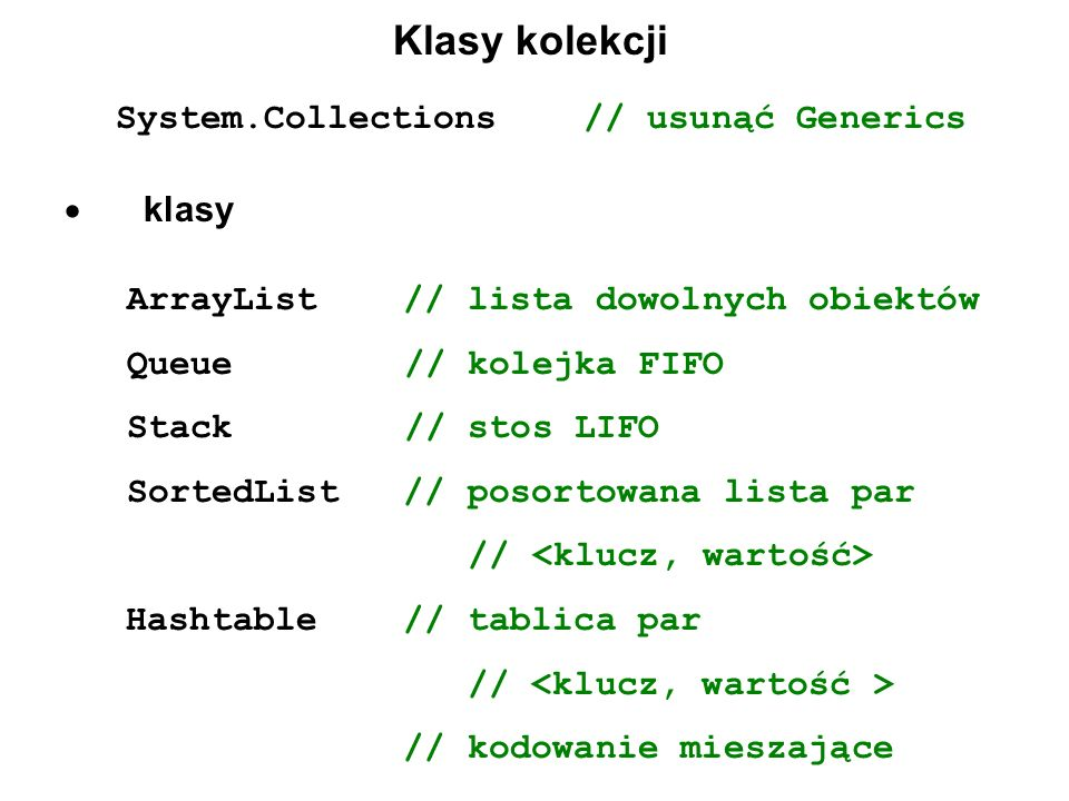 System.Collections // usunąć Generics