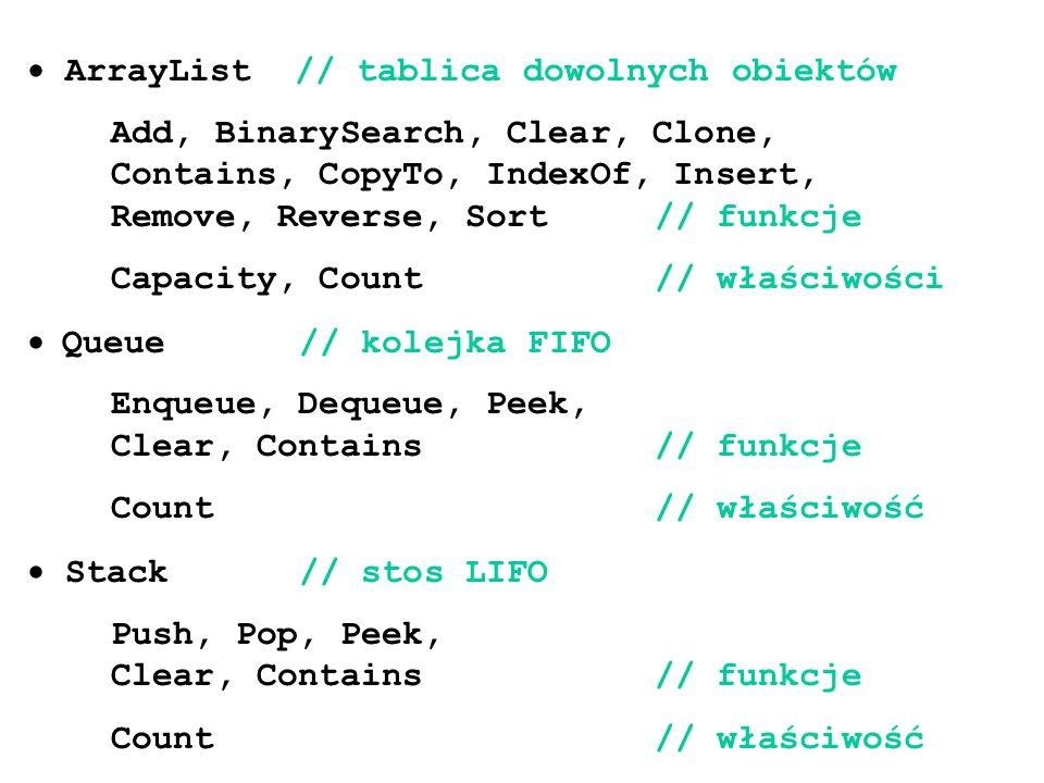 · ArrayList // tablica dowolnych obiektów