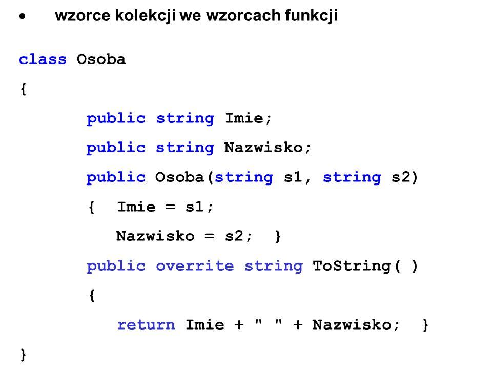 · wzorce kolekcji we wzorcach funkcji