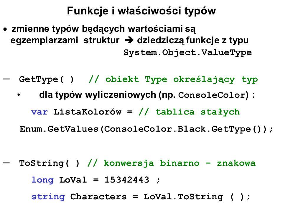 Funkcje i właściwości typów
