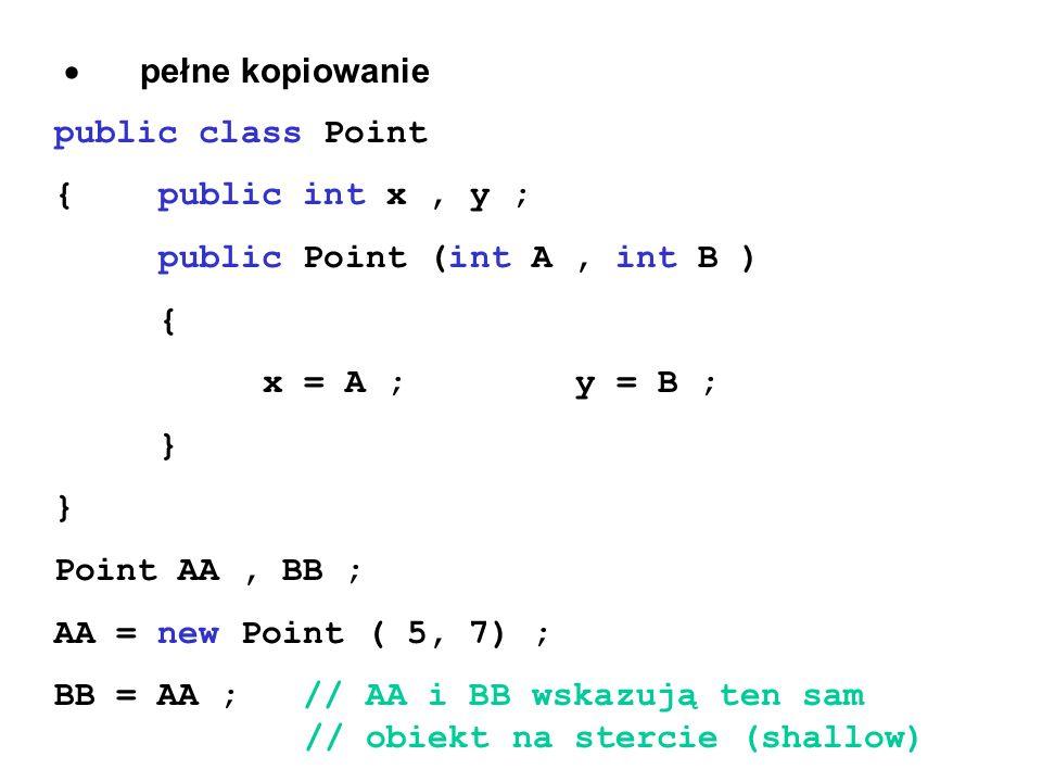 · pełne kopiowaniepublic class Point. { public int x , y ; public Point (int A , int B ) { x = A ; y = B ;