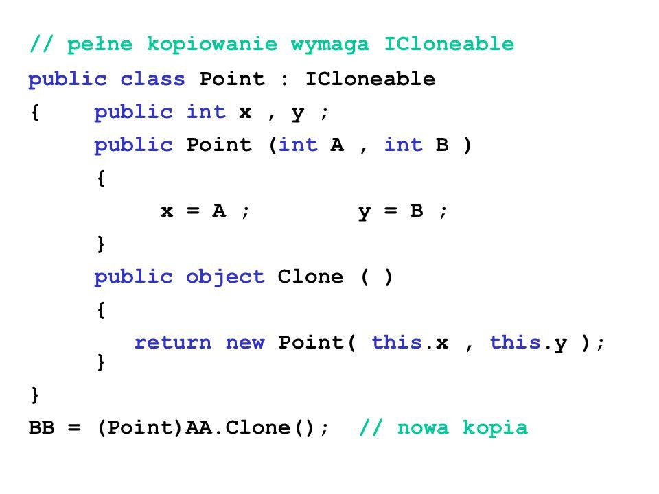 // pełne kopiowanie wymaga ICloneable