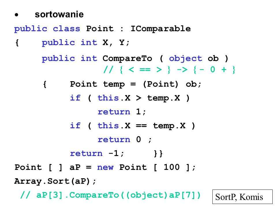 · sortowanie public class Point : IComparable. { public int X, Y;