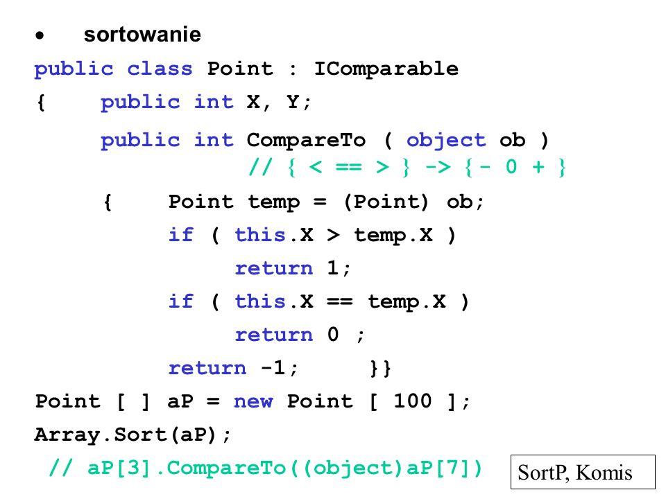 · sortowaniepublic class Point : IComparable. { public int X, Y; public int CompareTo ( object ob ) // { < == > } -> { - 0 + }
