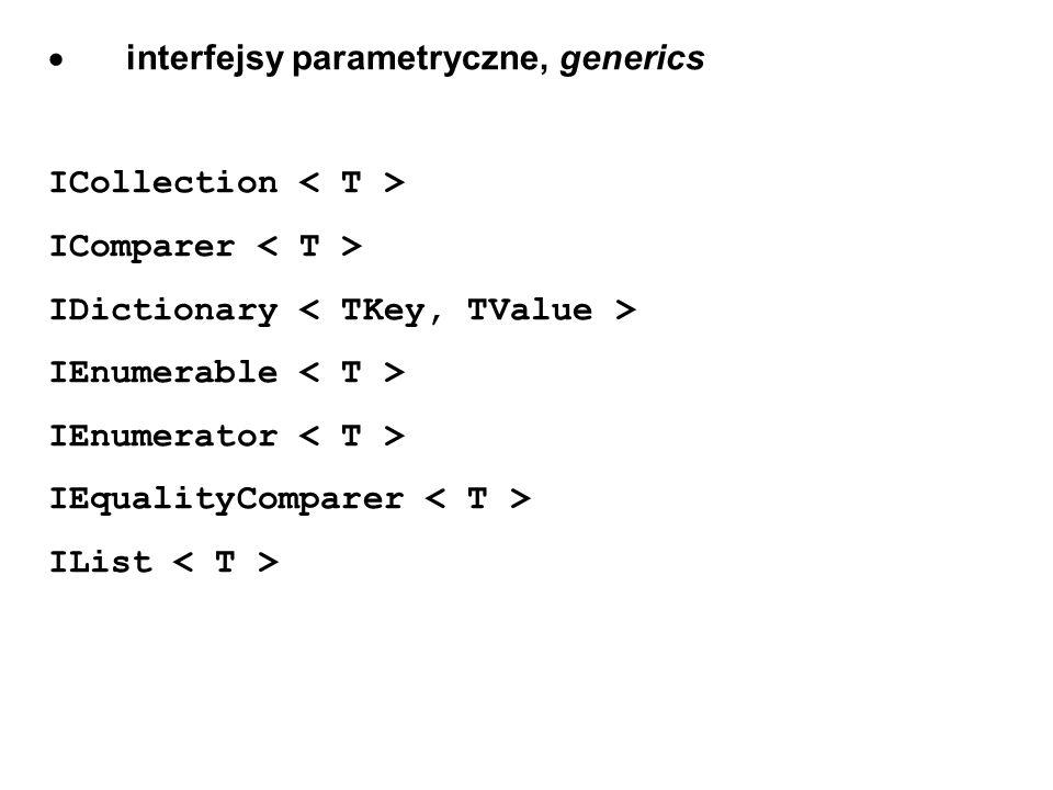 · interfejsy parametryczne, generics