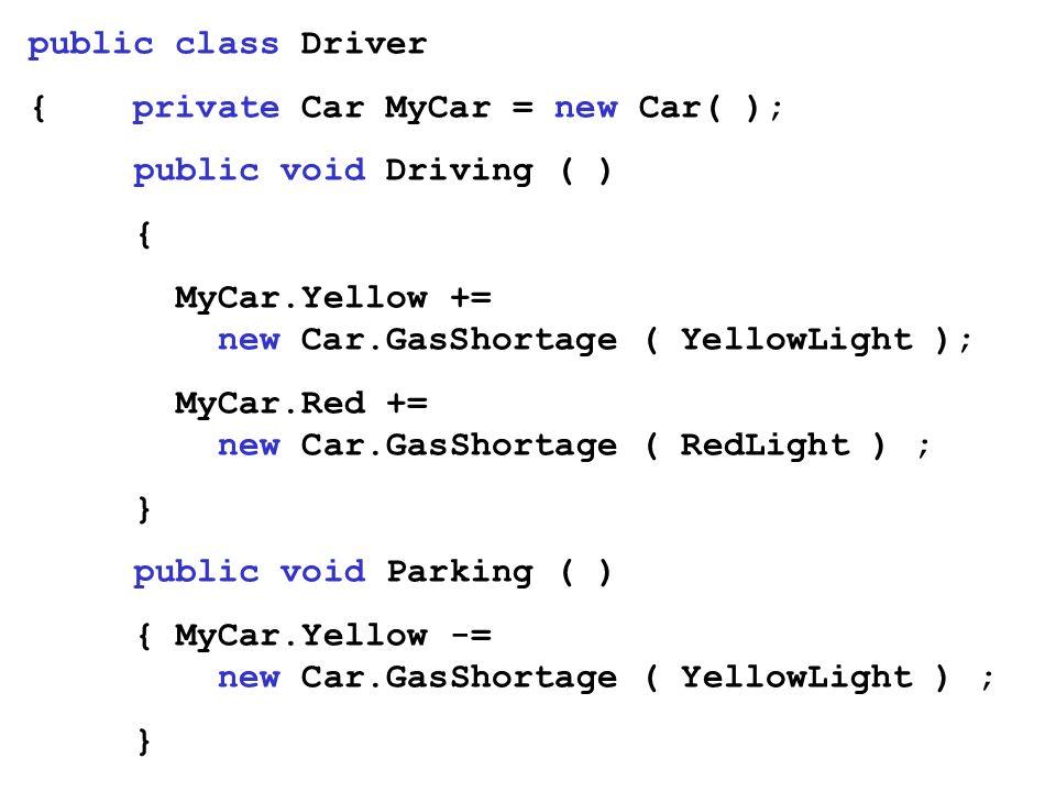 public class Driver{ private Car MyCar = new Car( ); public void Driving ( ) { MyCar.Yellow += new Car.GasShortage ( YellowLight );