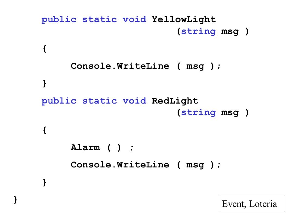 public static void YellowLight (string msg )