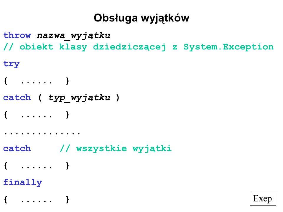 Obsługa wyjątków throw nazwa_wyjątku // obiekt klasy dziedziczącej z System.Exception. try. { ...... }