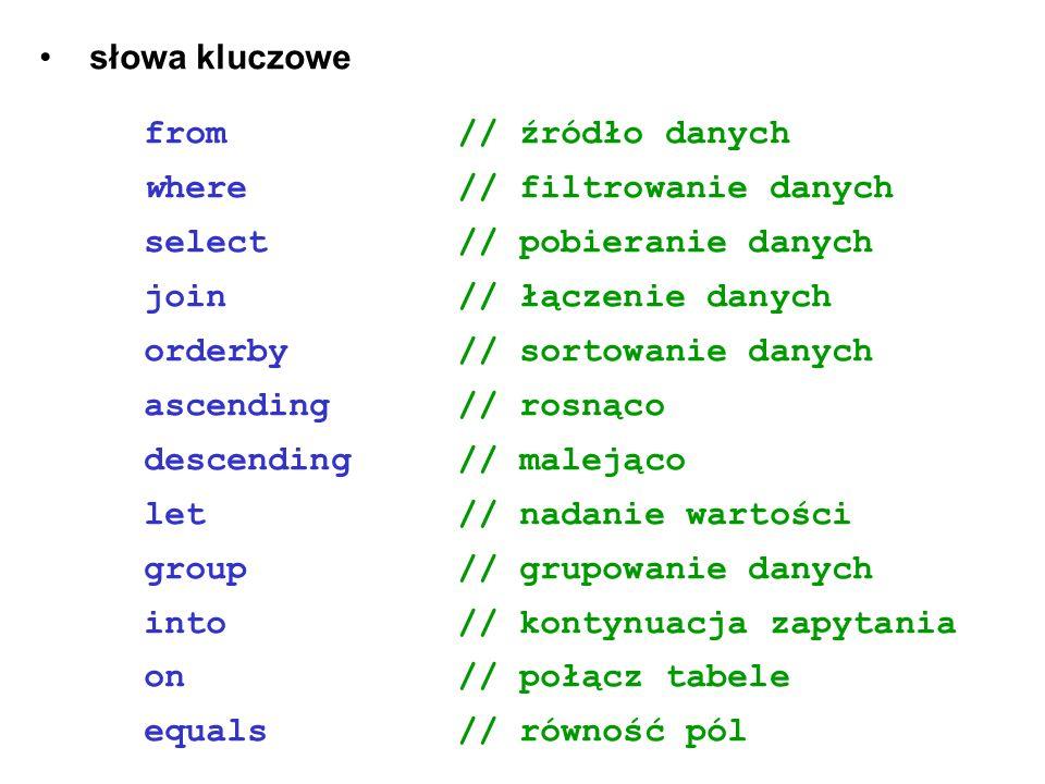 słowa kluczowefrom // źródło danych. where // filtrowanie danych select // pobieranie danych.