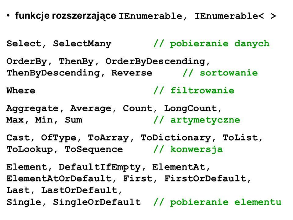 funkcje rozszerzające IEnumerable, IEnumerable< >