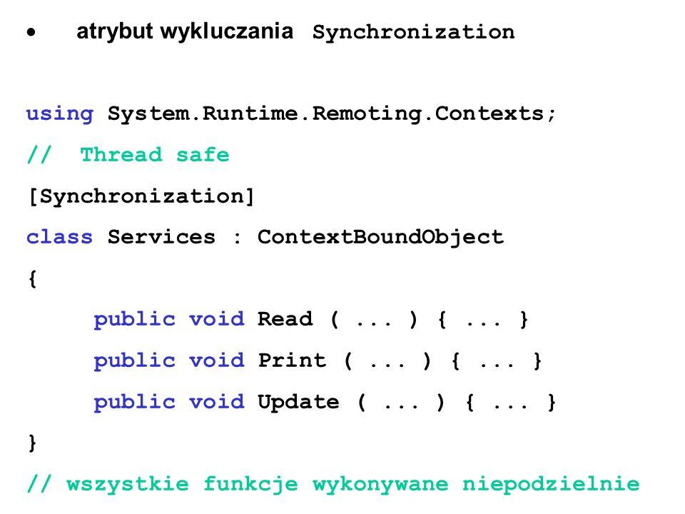 · atrybut wykluczania Synchronization