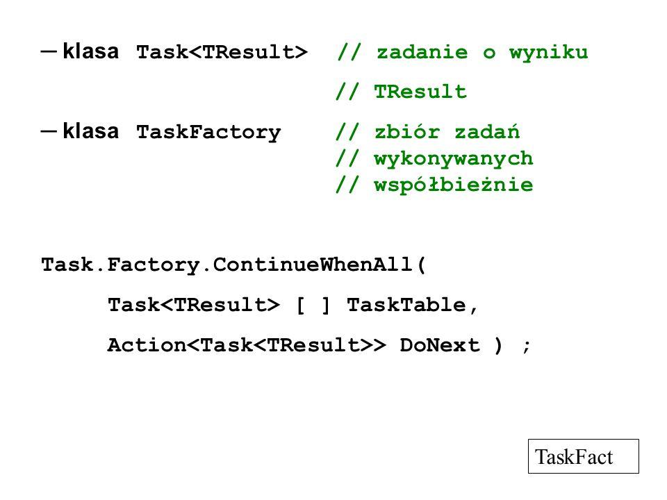 ─ klasa Task<TResult> // zadanie o wyniku