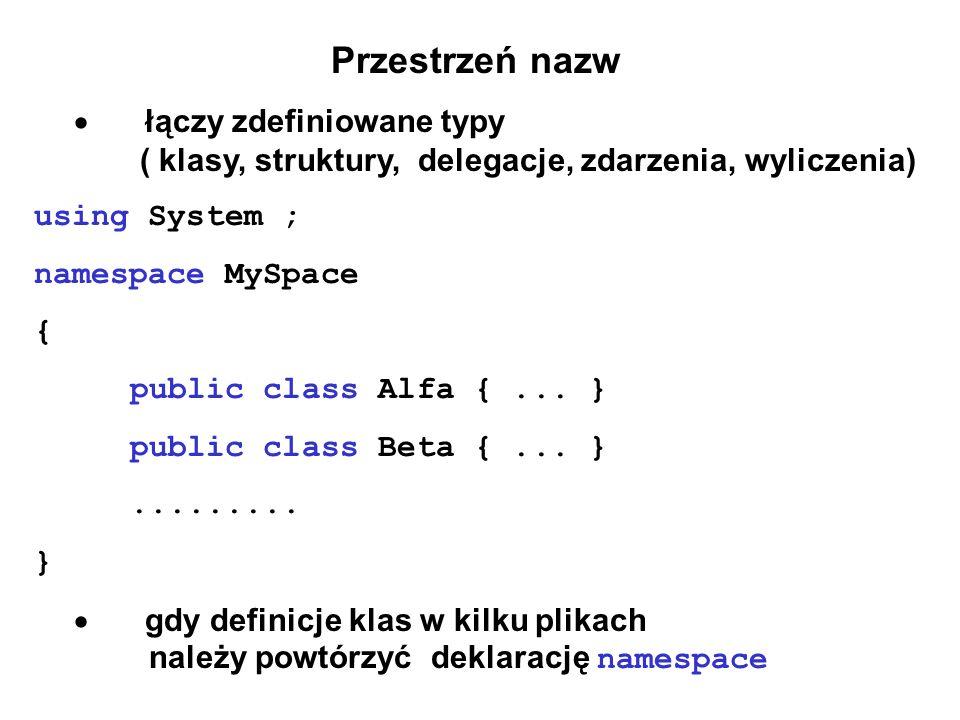 Przestrzeń nazw · łączy zdefiniowane typy ( klasy, struktury, delegacje, zdarzenia, wyliczenia)