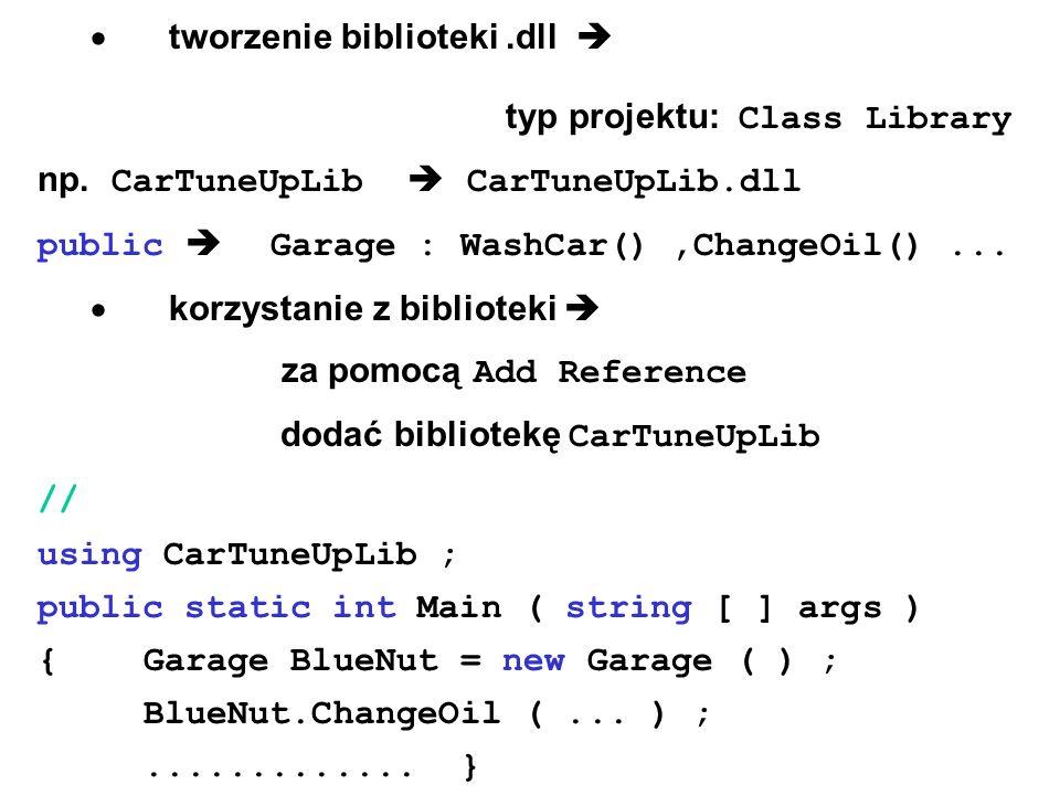 · tworzenie biblioteki .dll 