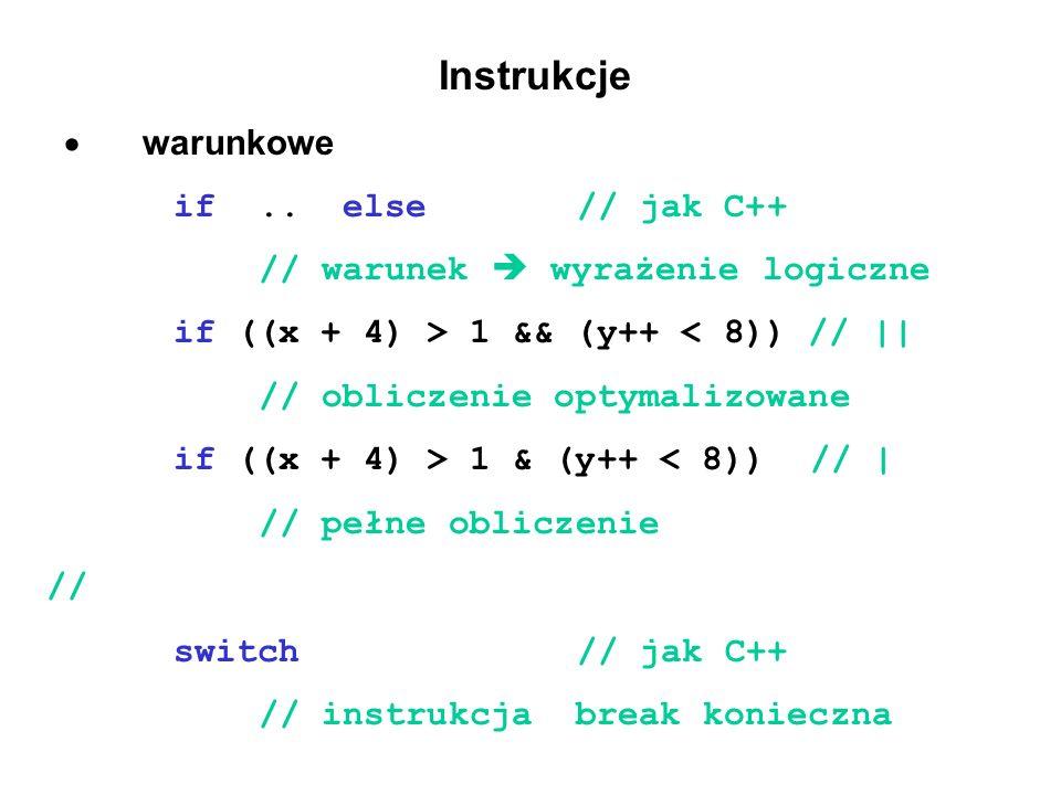 Instrukcje · warunkowe if .. else // jak C++