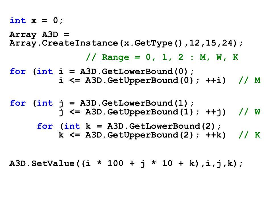 int x = 0;Array A3D = Array.CreateInstance(x.GetType(),12,15,24); // Range = 0, 1, 2 : M, W, K.