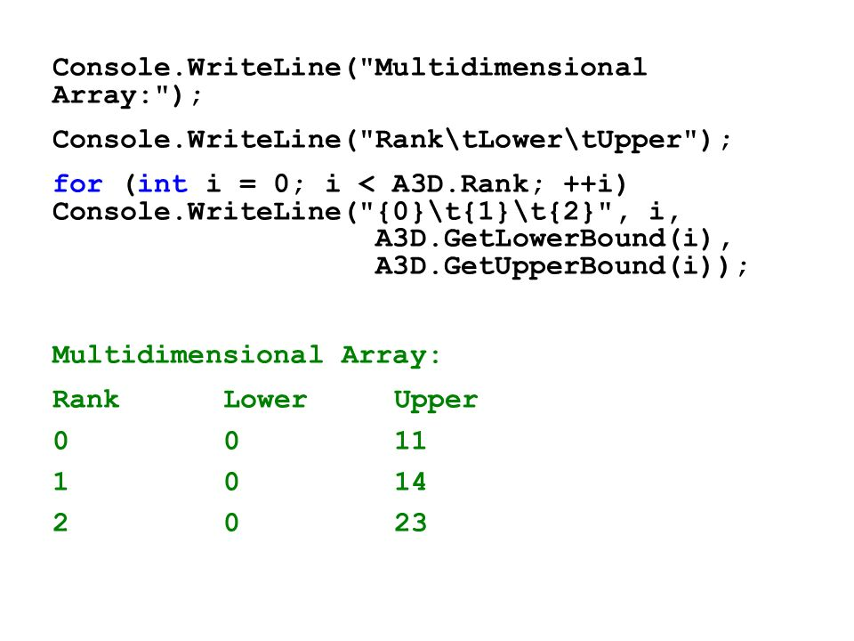 Console.WriteLine( Multidimensional Array: );