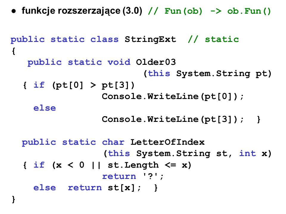 ● funkcje rozszerzające (3.0) // Fun(ob) -> ob.Fun()
