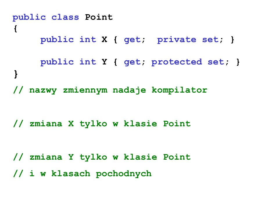 } public class Point { public int X { get; private set; }