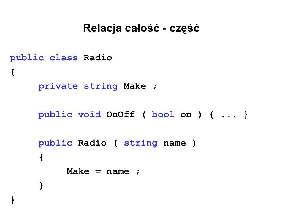 Relacja całość - część public class Radio { private string Make ;